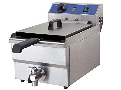Profi Elektro-Fritteuse, Chrom-Nickel-Stahl, mit Ablasshahn, 3250 Watt, 10 Liter; WF-101V GGG