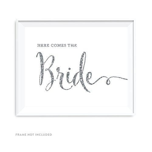 Andaz Press Wedding Party Signs, Silver Glittering, 8.5x11-inch, Here Comes The Bride Flower Girl or Ring Bearer Ceremony Sign, 1-Pack, Not Real Glitter