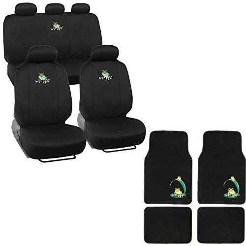 A set of 15 Piece Automotive Gift Set: 2 Lowback Seat Covers, 1 Bench Cover, 5 Headrests, 4 Floor Mats - Frog