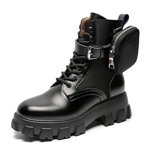 GGBLCS Plateau Combat Stiefeletten Damen Leder Schnürstiefeletten Blockabsatz wasserdichte Kurzschaft Biker-Stiefel Mit Abnehmbarer Tasche,Schwarz,39 EU
