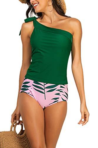 Zexxxy Costumi da Bagno Monospalla per Donna Set di Due Pezzi Tankini Retro Controllo della Pancia (Vino, XX-Large)