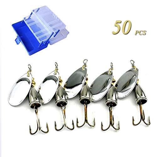 GWSPORT 50 pcs Señuelos Cucharillas de la Pesca Set, Spinner Cebo del...