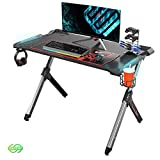 EUREKA ERGONOMIC Gaming Desk with RGB Lighting Gaming Table 44.5'' PC Desk Easy to Assemble Computer Desk with Free Mouse pad, Cup Holder& Headphone Hook for Men Boy/Girlfriend Son/Daughter Black