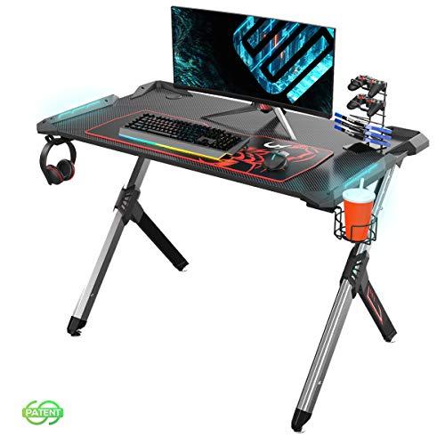 EUREKA ERGONOMIC Bureau Gaming R1S Bureau Gamer RVB Bureau pour Gaming pc Informatique Table Desk avec Tapis Souris Porte Gobelet Support Casque Noir 44.5''