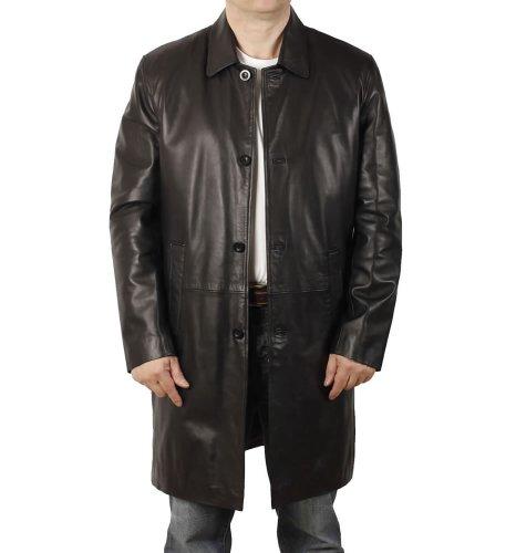 Manteau en cuir noir col fermé longueur 7/8 - Taille 2XL