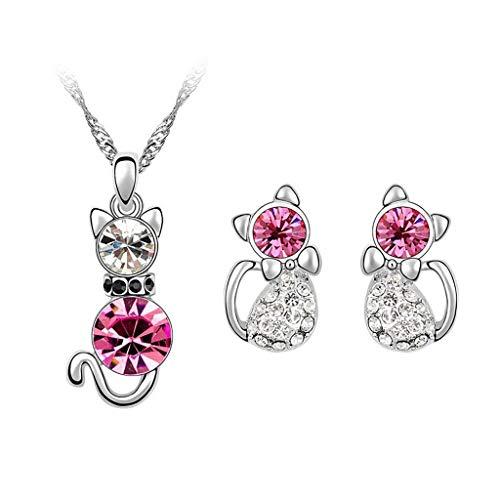 Yowablo Halskette Ohr Haken Ring Schmuck Set Exquisite Wassertropfen Armband Fashion Plating (Pink)