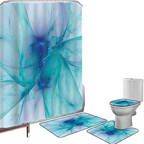 Duschvorhang Set Badezimmerzubehör Teppich Türme Badematte Contour Teppich Teppichbezug Moderner kreativer Computerkunstentwurf mit alternativen Formen im psychedelischen Stil,blaugrün, Rutschfest was