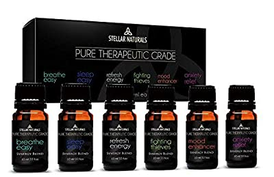 Top 6 Best Essential Oil Blends, Therapeutic Grade Aromatherapy Oils for Serenity and Protection Contains. Breathe Easy, Sleep Easy, Refresh Energy, Fighting Guards, Mood Enhancer, Anxiety Relief