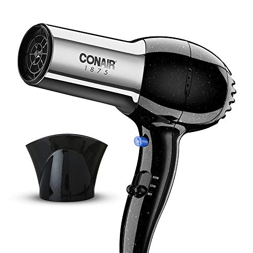 Conair 1875 Watt Full Size Pro Hair Dryer with Ionic Conditioning, Black/Chrome, 1 Count