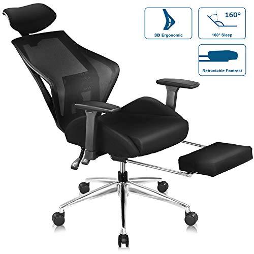 DEVAISE Ergonomics Recliner Office Chair, High Back Mesh Computer Desk Chair with 3D Armrest...