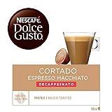 Nescafé Dolce Gusto Café Cortado descafeinado, Pack de 3 x 16 Cápsulas - Total: 48 Cápsulas de Café