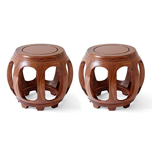 Taburete de bar 2PCS, taburete de tambor de palisandro, mesa redonda pequeña de ocio con balcón de estilo chino, taburete de mesa de centro para cama y desayuno/A / 35cm