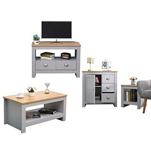 CF Furniture Living Room 4 Piece Set Lamp Table Coffee Table TV Stand Multi Storage Cupboard Modern Simple Practical Grey+Oak