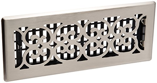 Decor Grates SPH412-NKL Floor Register, 4-Inch by 12-Inch, Brushed Nickel Finish