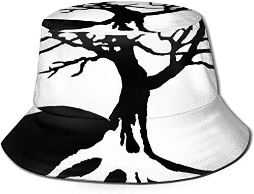 Romance-and-Beauty Yin Yang Bonsai Tree Print Bucket Hat Pescador Pesca Gorra para el Sol para Mujeres Viajes-Negro-Talla única