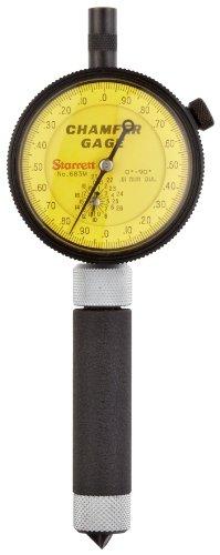 Starrett 683M-1Z Millimeter Reading Internal Chamfer Gauge With Yellow Dial, 0-90 Degree Angle, 0-9.5mm Range