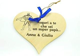 Cuore in legno Idea regalo FESTA DEL PAPA' Dono di Natale Compleanno personalizzabile con nome o nomi