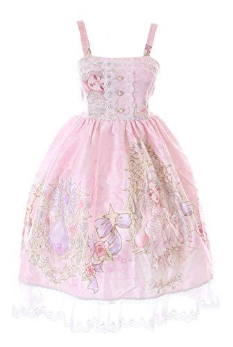 JSK-66-3 Rosa Princesa Joyas, Rosa Vestido Pastel Goth Lolita Cosplay Disfraz Kawaii