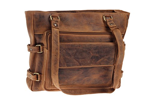 GreenBurry Damen-Business-Shopper Rind-Leder 42 x 33 x 13 cm Schulter-Tasche 1635