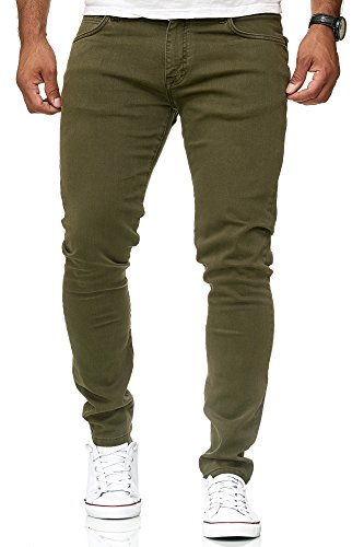 Redbridge Hommes Denim Jeans Coupe Slim Chino de Base Occasionnels Pantalon,Kaki,34W / 32L