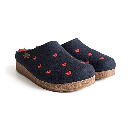 HAFLINGER Women's GZ Cuoricini Wool Clogs, Navy, 38 EU