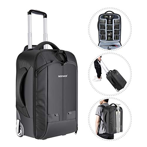 Neewer 2-in-1 Convertible Wheeled Camera Backpack Luggage Trolley Case with Double Bar, Anti-shock...