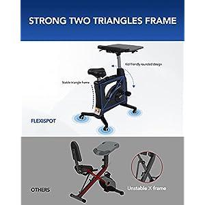 FLEXISPOT Home Office Workstation Upright Stationary Fitness Exercise Cycling Bike Height Adjustable Standing Desk - Deskcise Pro Black