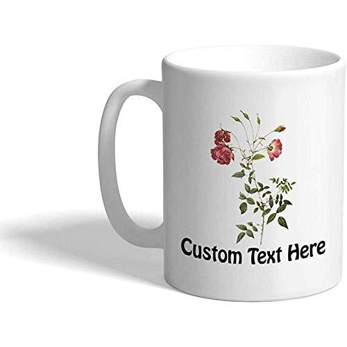 Taza de café personalizada 330 ml Taza de té de cerámica botánica Flower F7 Texto personalizado