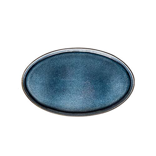 TXC- Keramisch tafelgerei plaat schotel plaat Startpagina Creative Net Rode fruitschaal Westelijk Voedsel Plate Dumpling Plate Duurzaam (Color : Blue, Size : 30.5cm*19cm)