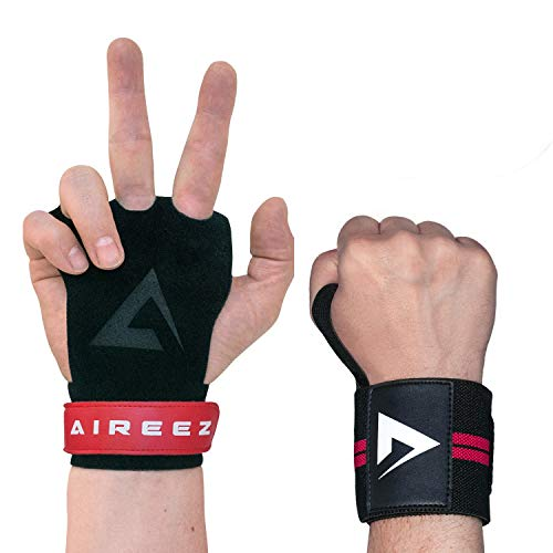 Aireez® 2 in 1 Crossfit Handschuhe MR Pull up Grips Für Handschutz & Handgelenk Bandagen Set, Hand Grips, Calisthenics Handschuhe, Turnen Riemchen (Damen & Herren) für Freeletics, Gymsnatik & Wodies