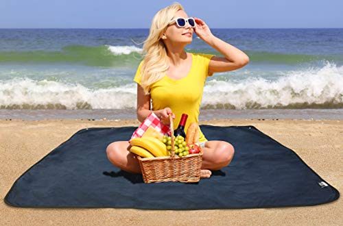 KC Caps Napa Water-Resistant Beach Picnic Outdoor Blanket Tote, Rain Poncho, Stadium Seat,Table Cover, Patented 4-in-1 All-Purpose Mat, Perfect for Picnic, Beach, Traveling, Camping, Hiking