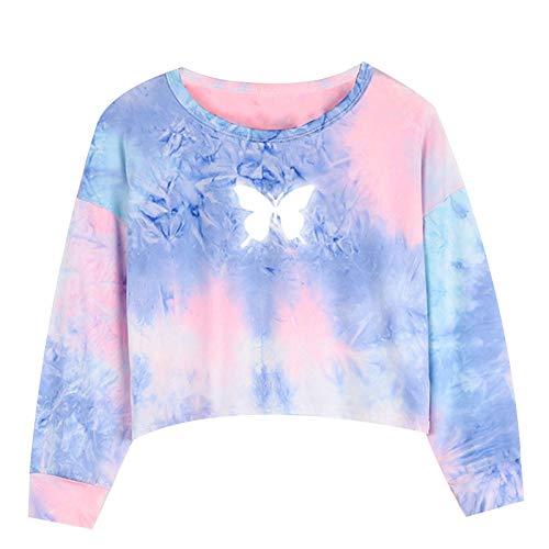 YUUMIN Kinder Mädchen Hoodie Gedruckt Patchwork Sweatshirt Langarm Crop Pullover Tops Bluse Mit Schmetterlingsdruck V-Ausschnitt Langarmshirt Gr. 98-152 Rosa&Lila 146-152