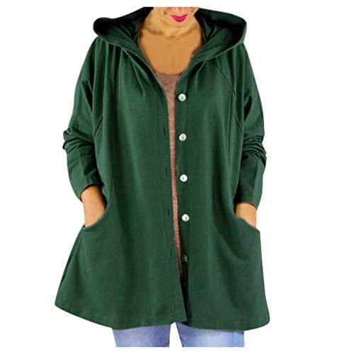 Lialbert Chaqueta de entretiempo para mujer con capucha, chaqueta cortavientos, chaqueta con capucha, sudadera con capucha con cordón y cremallera verde XL