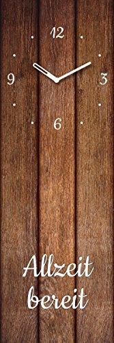 Wanduhr aus Glas, Spruch: Allzeit Bereit, Holzoptik braun, 20x60 cm von Eurographics