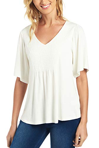 Cupio Womens Apparel Smocked Front Top with Flutter Sleeves- Naomi Slub Fabric Ivory