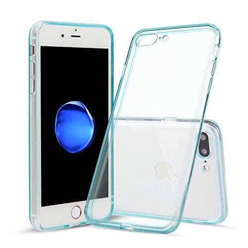 Capa Shamo's para iPhone 7 Plus e iPhone 8 Plus com absorção de choque, gel de borracha de TPU transparente com tecnologia livre de manchas, capa macia, Azul