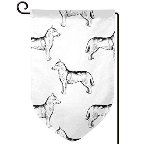 Hand Drawn Siberian Huskies Home Sweet Home Garden Flag Vertical Double Sided Spring Summer Yard Outdoor Decorative 12.5 X 18 Inch