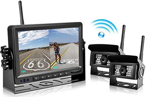 """podofo Digitales Drahtloses Rückfahrkamera System, 7\"""" TFT LCD Split Monitor + 2 X IP69 Imprägniern Rückansicht Kamera für Bus, Anhänger, RV, Wohnmobil, LKW, Auflieger, Pferdeanhänger"""