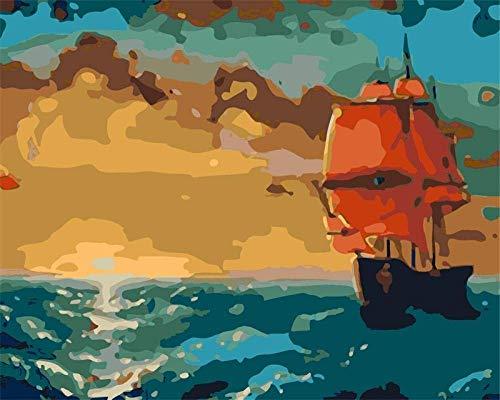 Kits de pintura por números - Sunset Sailing - Lienzo de bricolaje pintura al óleo para niños, estudiantes, adultos, principiantes con pinceles y pigmento acrílico de 16 x 20 pulgadas sin marco