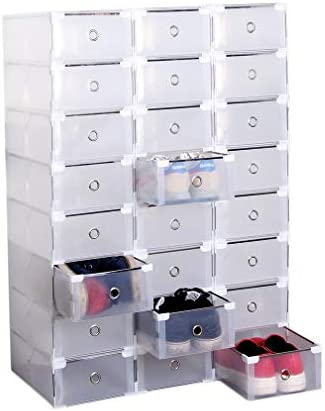 24 Pack Shoe Storage Boxes Clear Plastic Stackable Shoe Organizer Bins Drawer Type Front Opening product image
