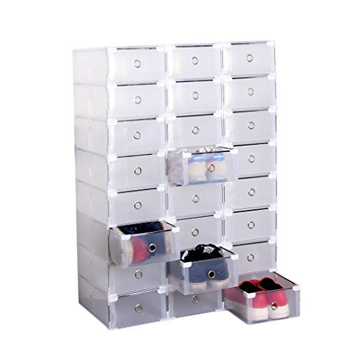 24 Pack Shoe Storage Boxes, Clear Plastic Stackable Shoe Organizer Bins, Drawer Type Front Opening Shoe Holder Containers (White)