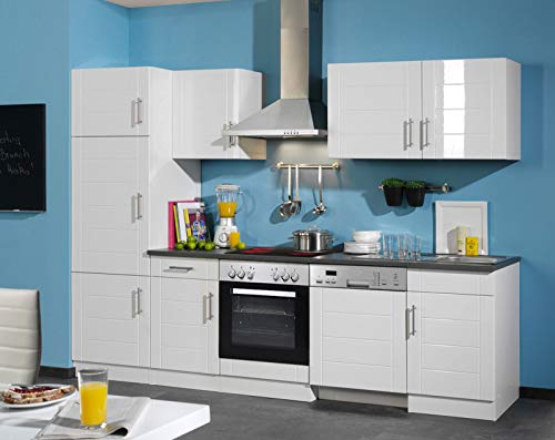lifestyle4living Küche mit Elektrogeräten 280cm | Küchenzeile Küchenblock Einbauküche E-Geräte | Hochglanz Weiss