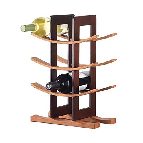 SHUAISHUAI Estante de Vino Rojo de Madera Moderno Simple de Madera de Vino de Madera, Estante de la Botella de Vino de Madera Maciza Natural para la Cocina/cebando Estructura novedosa