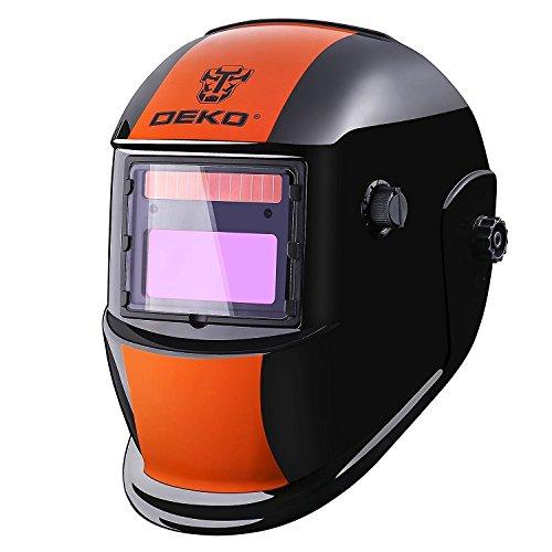 DEKO Casco de Soldadura Solar Powered Auto Oscurecimiento Capucha con Rango de Sombra Ajustable 4 9-13 para Mig Tig Soldadora de Arco Naranja Negro