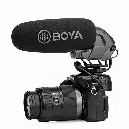 Super-Cardioid On-Camera Video Shotgun Microphone, BOYA BY-BM3032 Broadcast Condenser Interview Capacitive Microphone Camera Video Mic for Canon Nikon Sony DSLR Camcorder