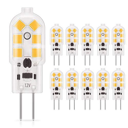 DiCUNO 10-Pack G4 1.5W LED-Lampe, 180LM, AC/DC 12V Glühlampen, Ersatz für 15-20W Halogen, Warmweiß 3000K, nicht dimmbar, LED Stiftsockellampe, kleine Glühlampe