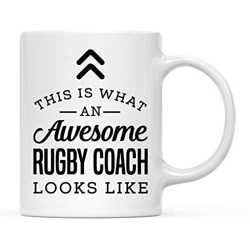 N\A Taza de cerámica para café, té, Regalo, así es como se ve un Entrenador de Rugby Impresionante, Paquete de 1, Ideas de Regalo de cumpleaños para él, Ella, Incluye Caja de Regalo