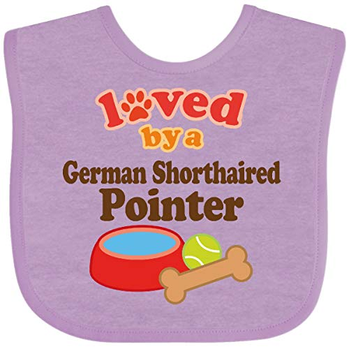 Inktastic German Shorthaired Pointer Loved by a (Dog Baby Bib Lavender 1055b