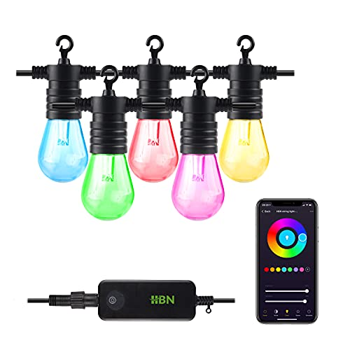 HBN Smart Outdoor Patio Light RGB Color & White LED Lights Smart String Light-24ft, 12 Edison Bulbs, 2.4 GHz Only, Works with Alexa/Google Assistant, App Controlled, No Hub Needed, IP65 Waterproof