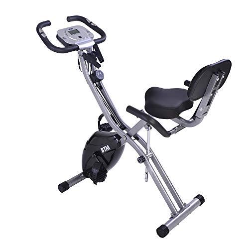 belupai G500 - Bicicleta de ejercicio plegable para interior y entrenamiento cardiovascular en casa, con volante y bandas de resistencia de brazo